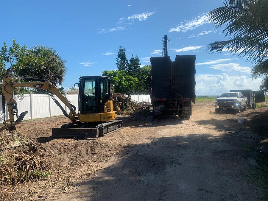 excavators at work