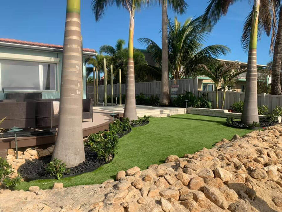 living seawall and patio area
