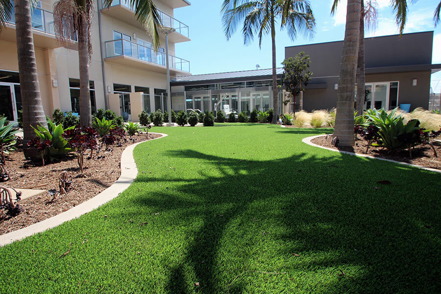 landscaping green-space outside apartment complex